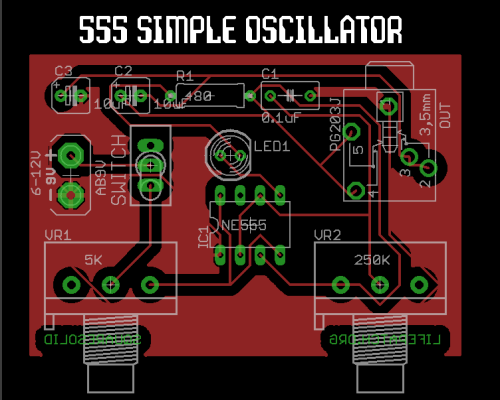 555 Simple Oscillator Board Layout