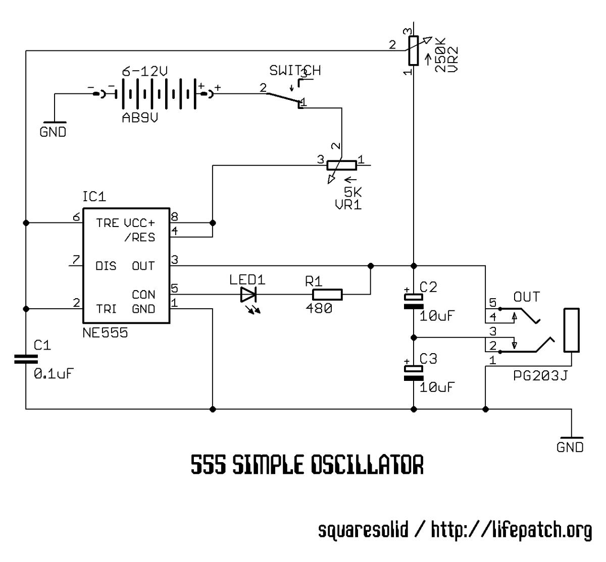 555 Simple Oscillator Schematic