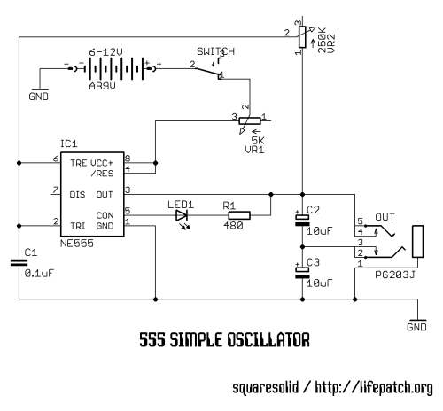 555 Simple Oscillator schematic