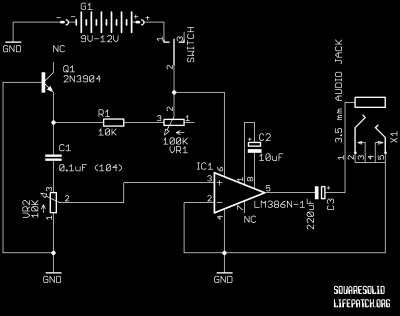white noise osc LM386 schematic