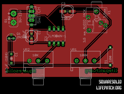 White Noise Oscillator LM386 PCB layout
