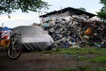 A garbage collector's yard on Winanga riverbank