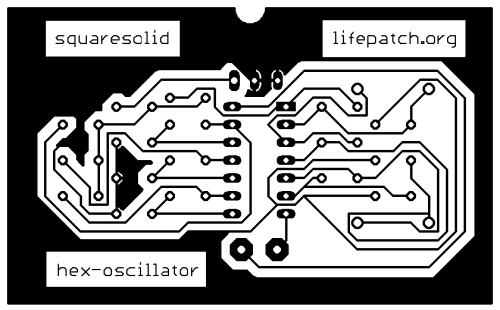 40106 hex-oscillator pcb print inverted