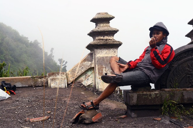 My friend Bayu Indra, helping us in installing MOS in Mount Merapi
