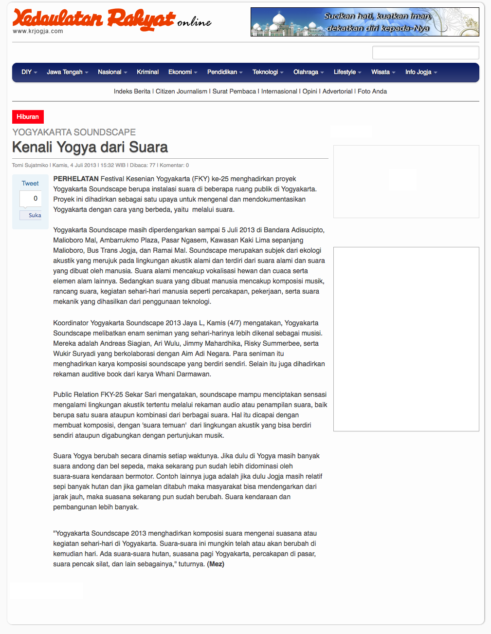 Yogyakarta Soundscape In Festival Kesenian Yogyakarta 2013 Article