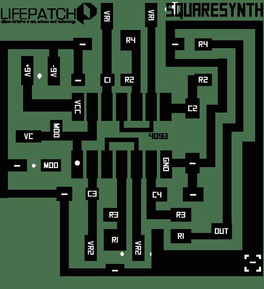 Squaresynth PCB, 5x5 cm