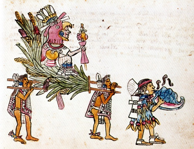 A shell trumpet blower known as a 'Quiquizoani' is playing in the front of a procession. The image taken from the Codex Magliabecchiano of the Aztec.